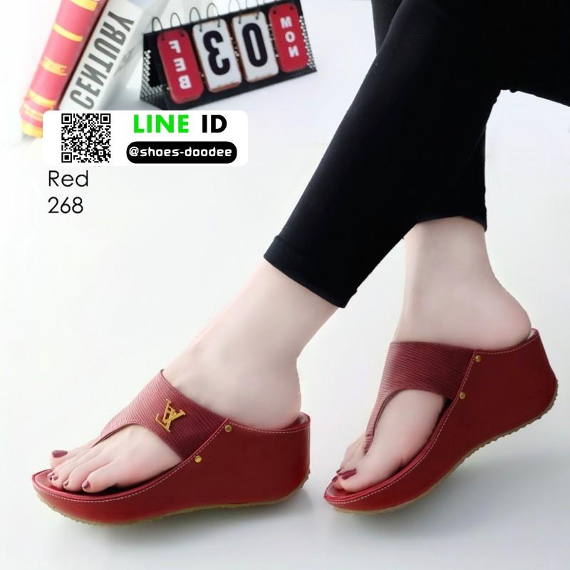รองเท้าลำลองส้นเตารีดแบบคีบ 268-แดง [สีแดง]