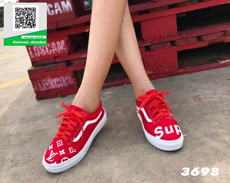รองเท้าผ้าใบแฟชั่นสีแดง ผ้าแคนวาส ทรง VANS (สีแดง )
