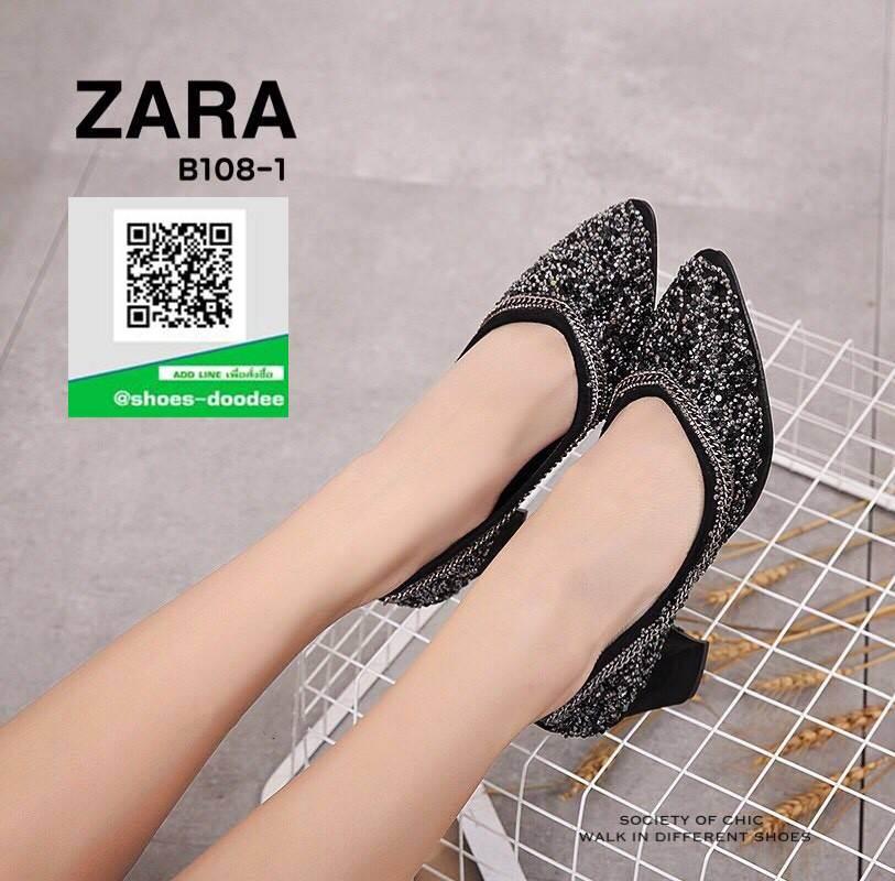 รองเท้าคัทชูหัวแหลมสีดำ แต่งกริตเตอร์ (สีดำ )