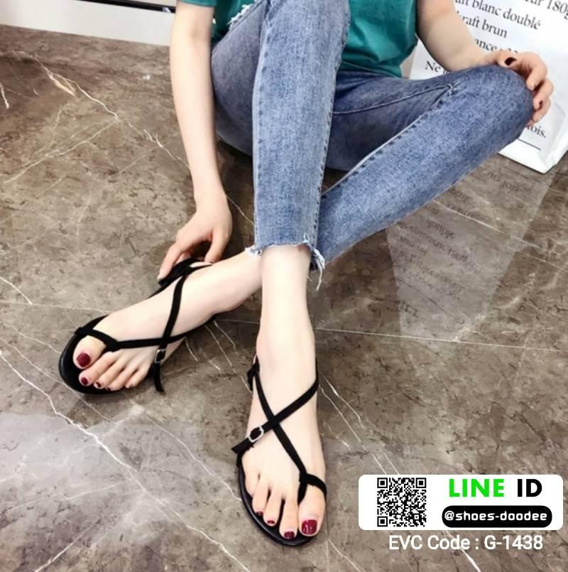 รองเท้าแตะรัดส้น แต่งเข็มขัดด้านข้าง G-1438-BLK [สีดำ]