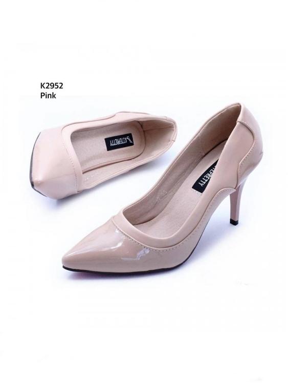 รองเท้าคัชชู ส้นเข็มสูงหนังแก้ว (สีชมพู)