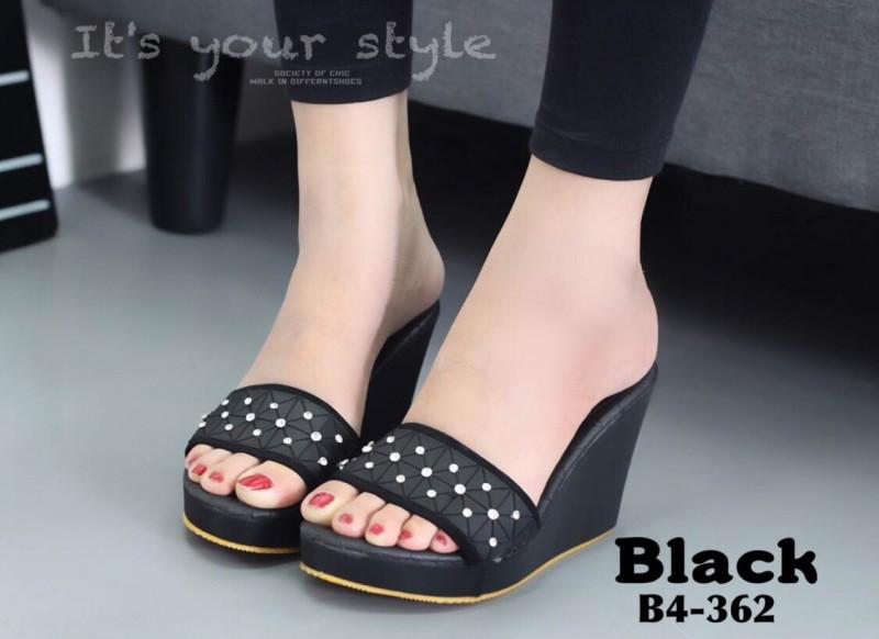 รองเท้าส้นเตารีดสีดำ เปิดส้น สไตล์ ISSEY MIYAKE BAO BAO (สีดำ )