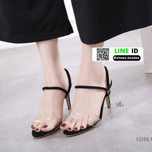 รองเท้าส้นสูง วัสดุหนังกำมะหยี่ 17-4092-BLK [สีดำ]