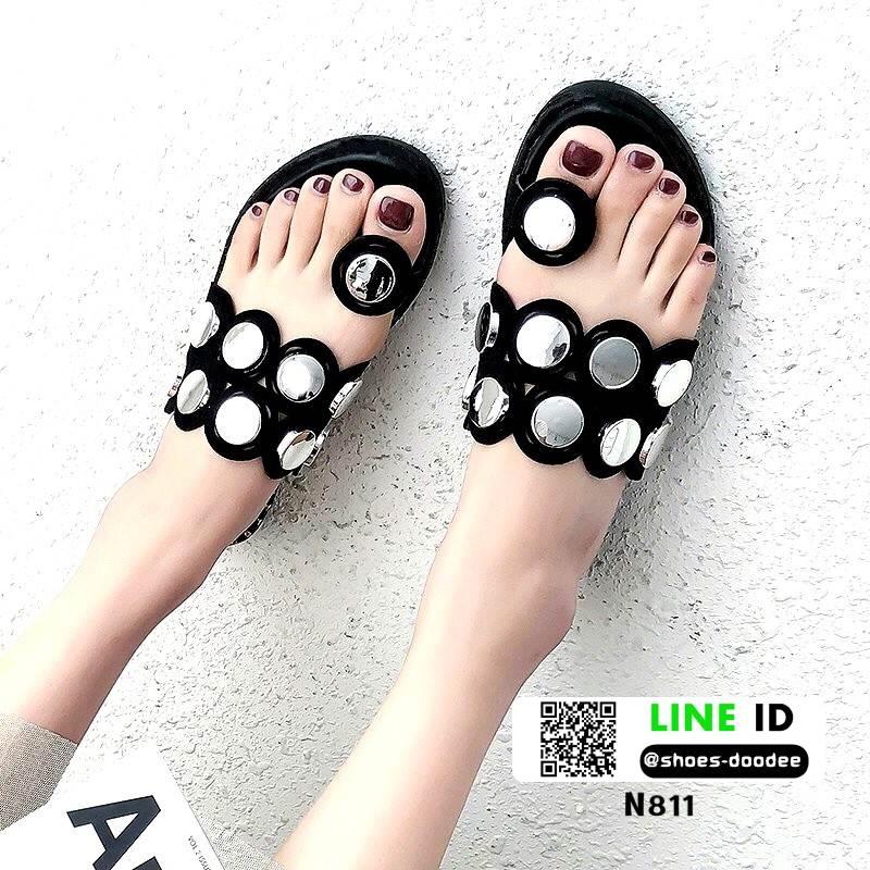 รองเท้าแตะแฟชั่น ฉลุลาย อะไหล่กลม N811-BLK [สีดำ]