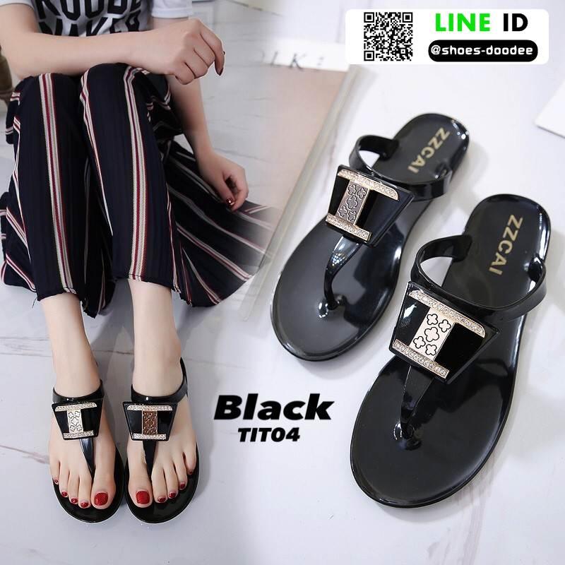 รองเท้าแตะส้นแบน jelly sandals TIT04-BLK [สีดำ]