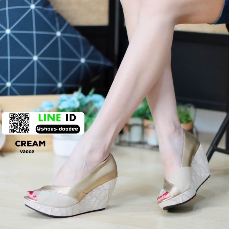 รองเท้าคัชชูทรงโอ่งงานหนังแก้ว V2002-CREAM [สีครีม]