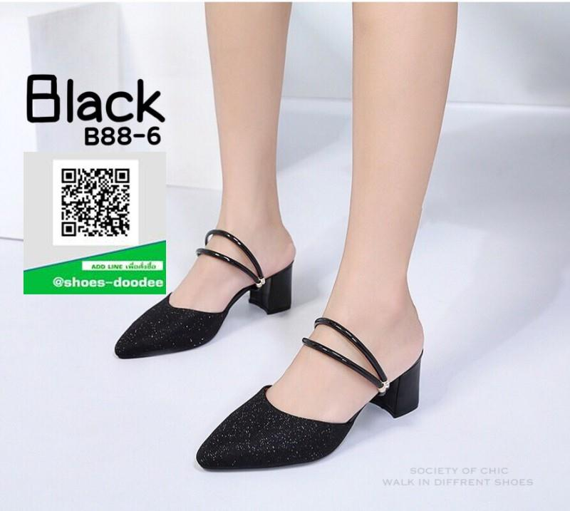 รองเท้าส้นตันรัดส้นสีดำ หัวแหลม หนังนิ่มผสมกริตเตอร์ (สีดำ )