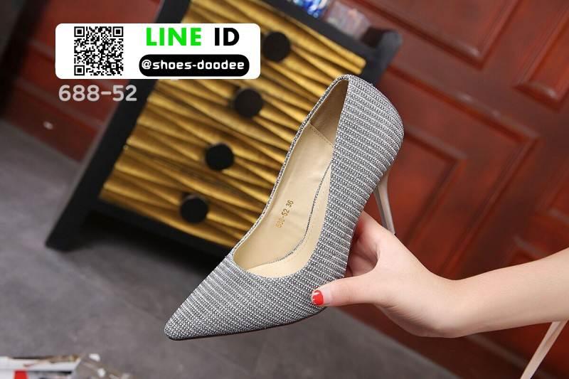 รองเท้าคัชชูทรงหัวแหลมงานผ้าวิ้งๆ 688-52-SIL [สีSIL]
