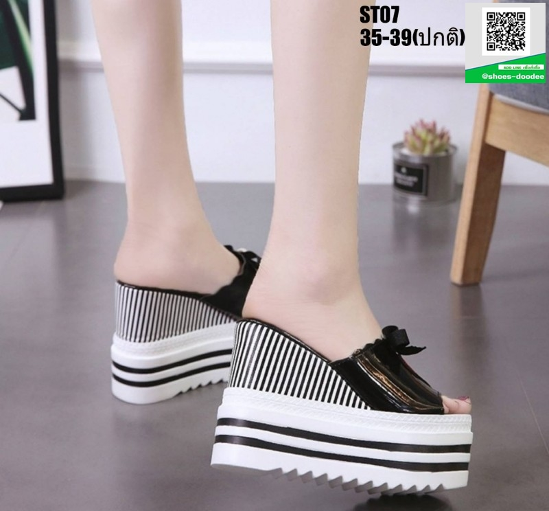 รองเท้าแบบสวมส้นเตารีด ST07-BLK [สีดำ]