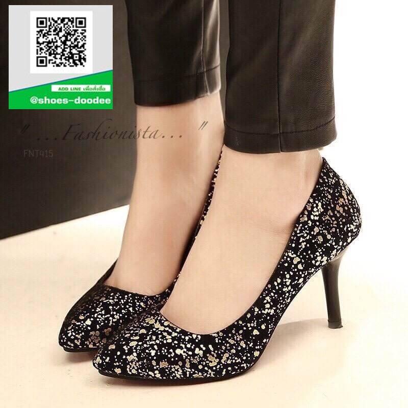 รองเท้าคัชชูส้นสูงสีทอง ทรง casual ดีไซน์หรูหรา (สีทอง )