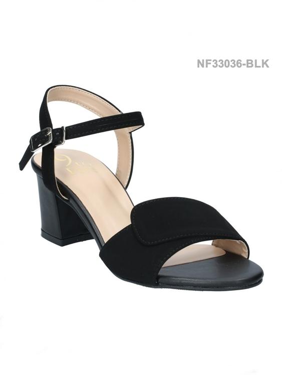 รองเท้าส้นเตี้ยรัดส้น สไตล์ลำลอง (สีดำ )