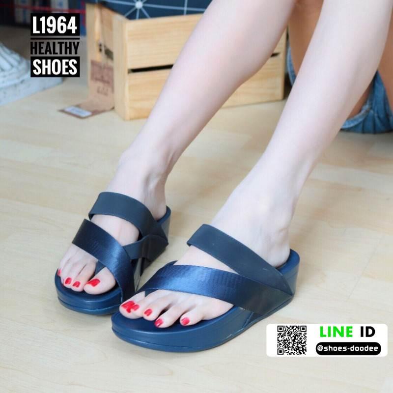 รองเท้าส้นเตารีด style fitflop L1964-BLU [สีน้ำเงิน]
