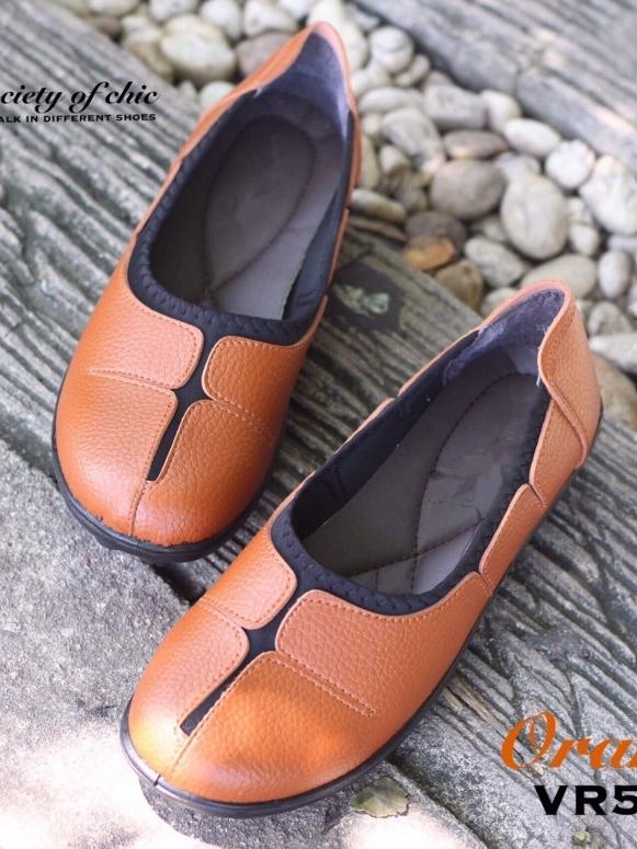 รองเท้าคัชชูหนังนิ่ม สไตล์สุขภาพ (สีส้ม )