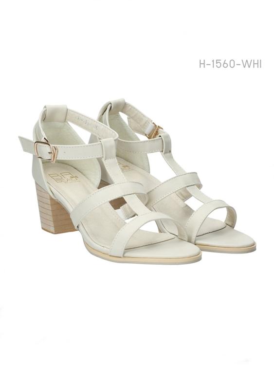 รองเท้าส้นสูงรัดข้อ สไตล์ลำลอง (สีขาว)