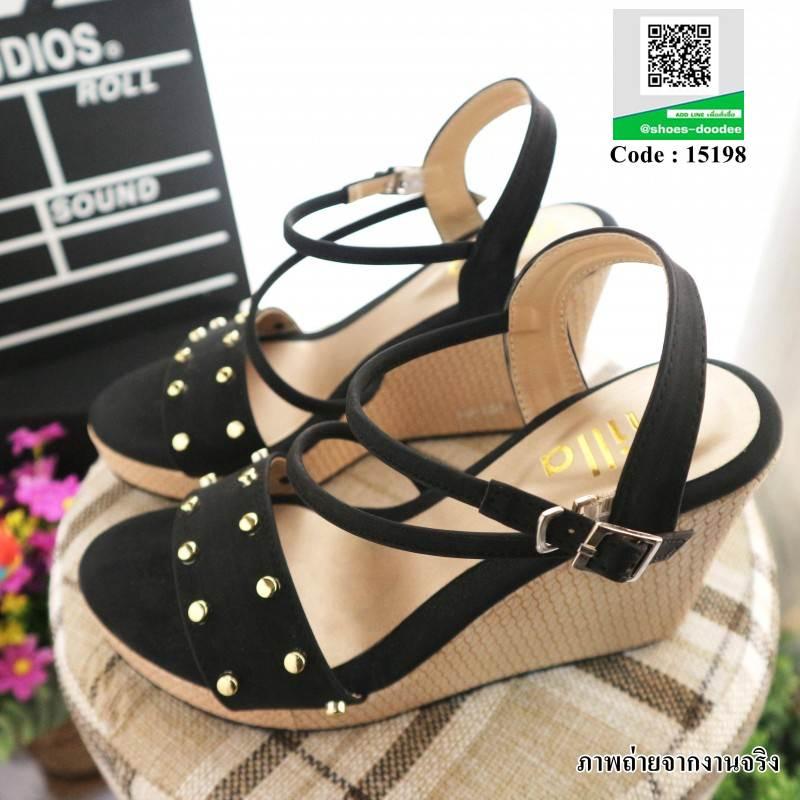 รองเท้าเตารีด แต่งหน้ามุกสีทอง 15198-BLACK [สีดำ]