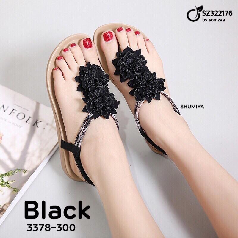 รองเท้าแตะรัดส้นสีดำ แบบคีบ ด้านบนติดดอกไม้แสนสวย (สีดำ )