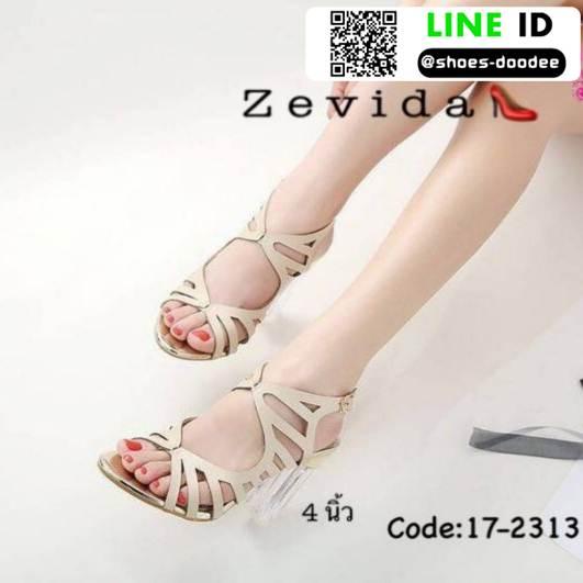 รองเท้าส้นแก้วใส สไตล์เกาหลี 17-2313-CRM [สีครีม]