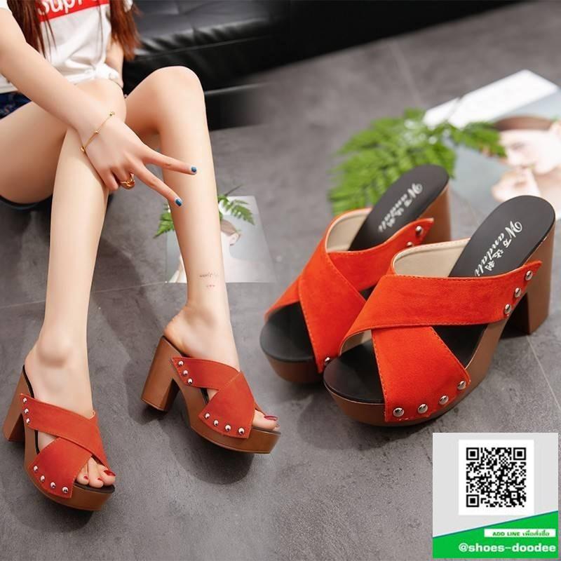 รองเท้าส้นตันสีส้ม ทรงแม็กซี่ สายคาดไขว้ (สีส้ม )