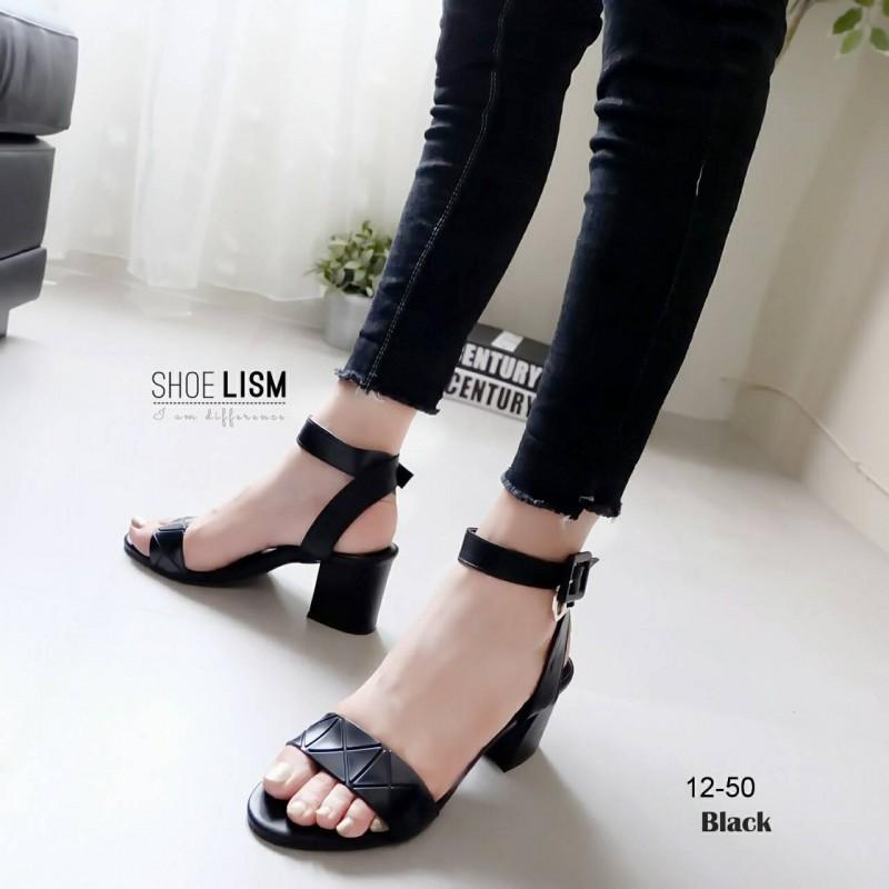 รองเท้าส้นสูงรัดข้อสีดำ ทรงmaxiu (สีดำ )