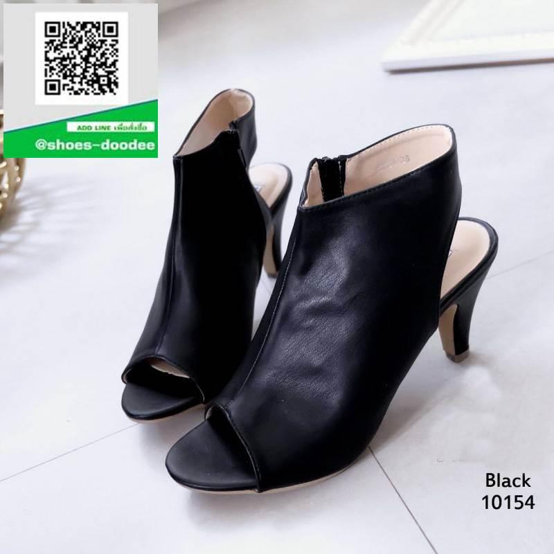 รองเท้าส้นสูงรัดข้อสีดำ สไตล์ปราด้า (สีดำ )