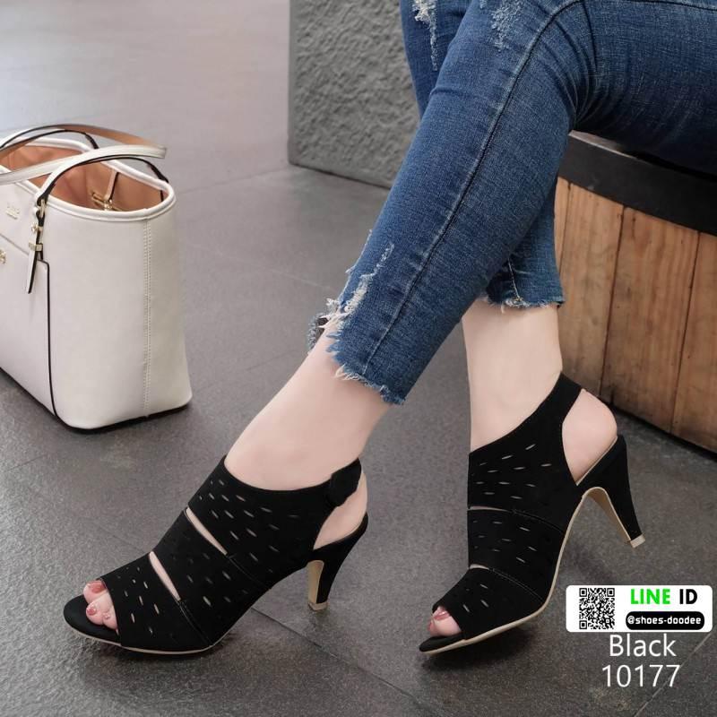รองเท้าส้นสูง รัดข้อ ฉลุลาย 10177-ดำ [สีดำ]