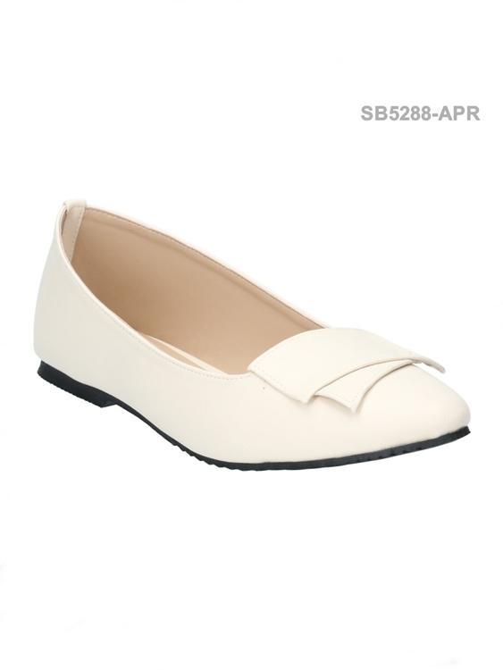 รองเท้าคัทชูส้นแบน ทรงหัวมน สไตล์อังกฤษ (สีแอปปริคอท )