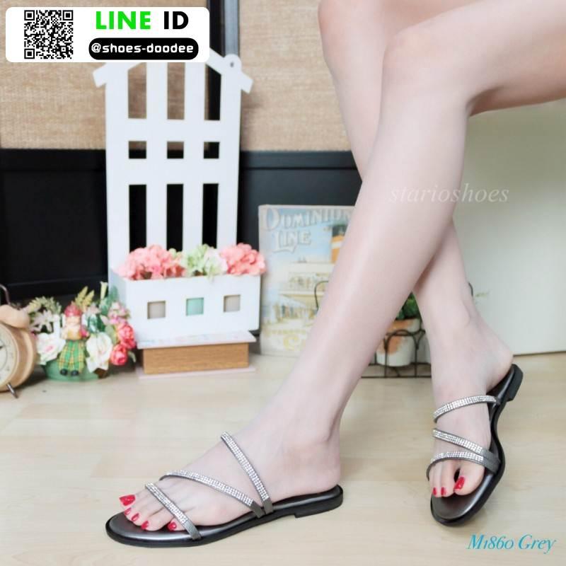 รองเท้าแตะผู้หญิง สายคาดเพชร M1860-GRY [สีเทา]