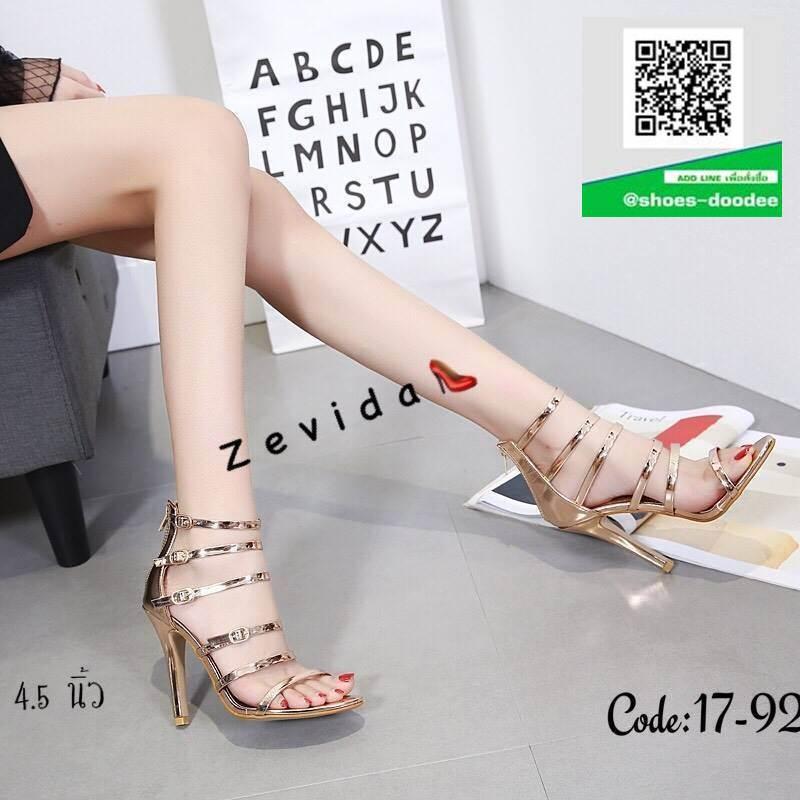 รองเท้าส้นเข็มรัดข้อสีทอง แบบซิปหลัง (สีทอง )