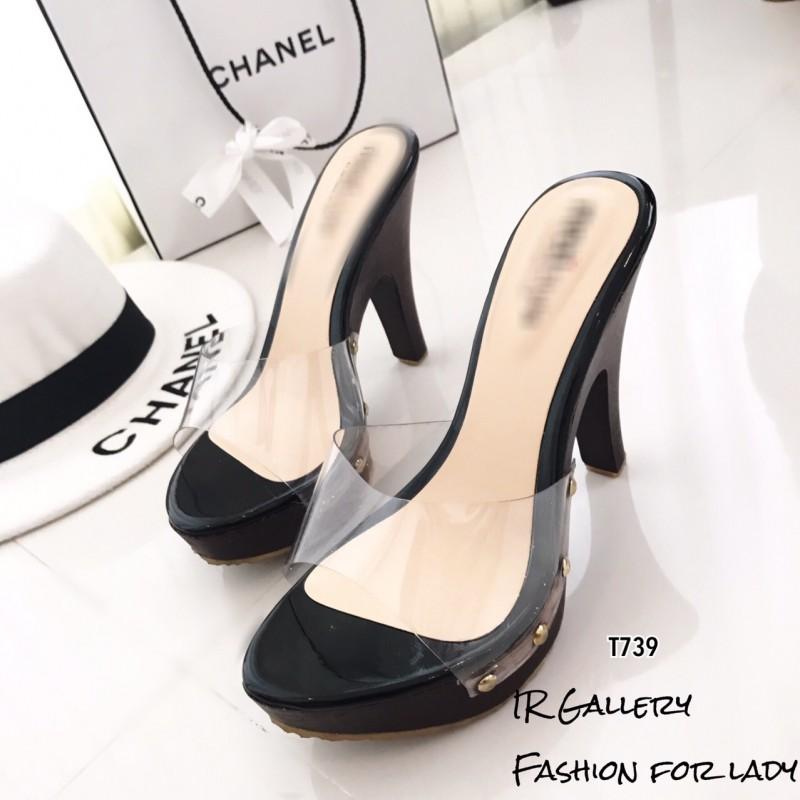 รองเท้าส้นสูงเปิดส้นสีดำ พียูใส ส้นไม้ น้ำหนักเบา (สีดำ )