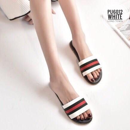 รองเท้าเพื่อสุขภาพ แตะส้นเตี้ย PU6012-WHT [สีขาว]