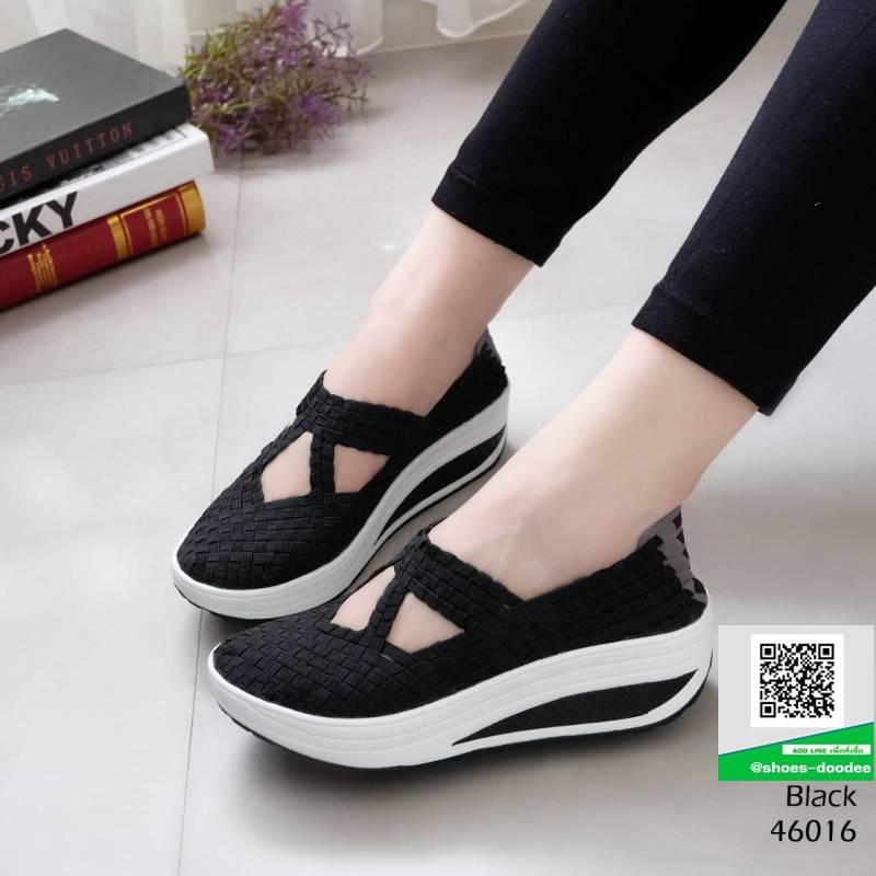 รองเท้าผ้าใบ เพื่อสุขภาพกันลื่น 46016-ดำ [สีดำ]