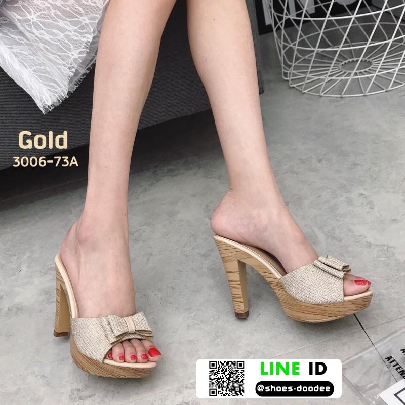 รองเท้าส้นสูงเปิดส้น ลายไม้ แต่งโบว์โบวฺ์ 3006-73A-GLD [สีทอง]