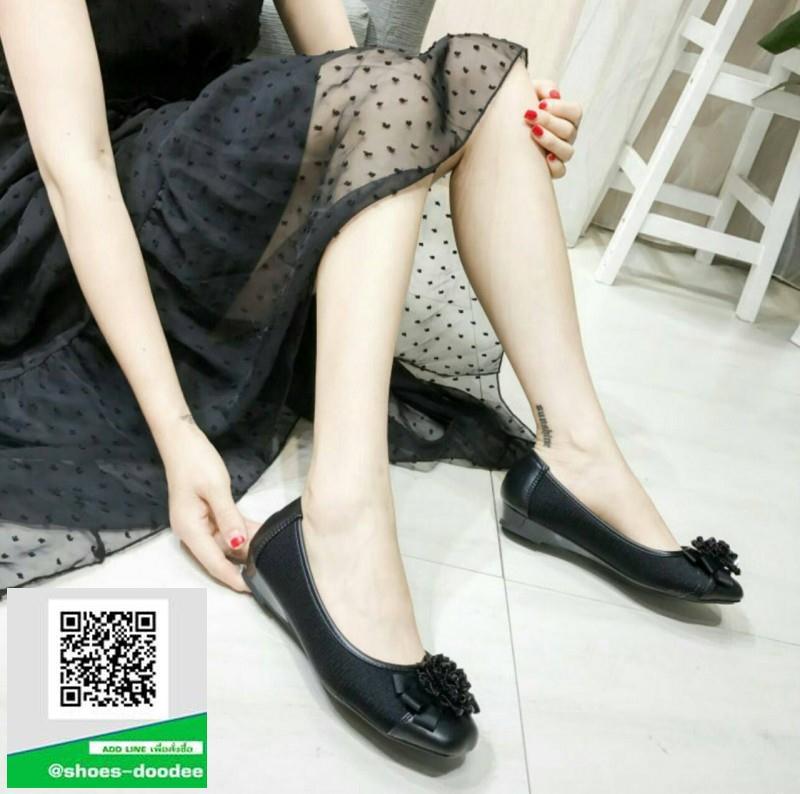 รองเท้าคัทชูเสริมส้นสีดำ พื้นบุนวมนุ่ม (สีดำ )
