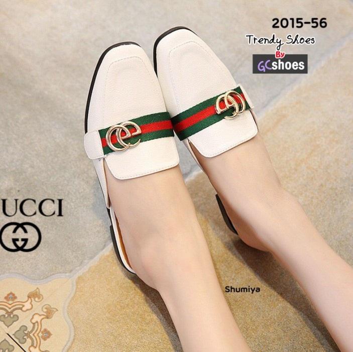 รองเท้าส้นแบนเปิดส้นสีขาว หนังนิ่ม STYLE GUCCI (สีขาว )