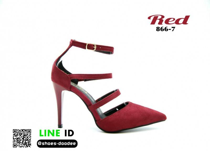 รองเท้าส้นเข็มหัวแหลม คาดหน้า 866-7-RED [สีแดง]