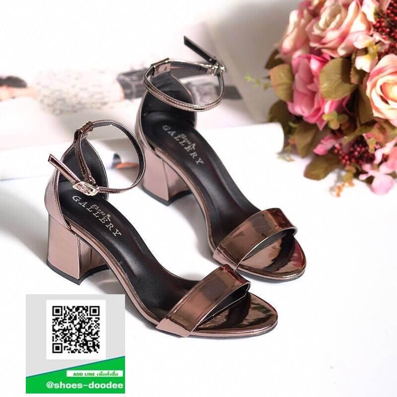 รองเท้าส้นตันรัดข้อสีเทา สไตล์ ZARA (สีเทา )