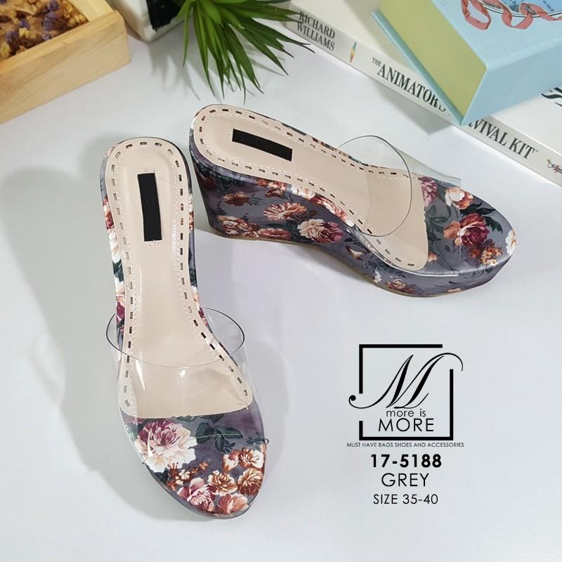รองเท้าส้นเตารีดลายดอกไม้สีเทา สไตล์วินเทจ สายคาดพลาสติกใส (สีเทา )