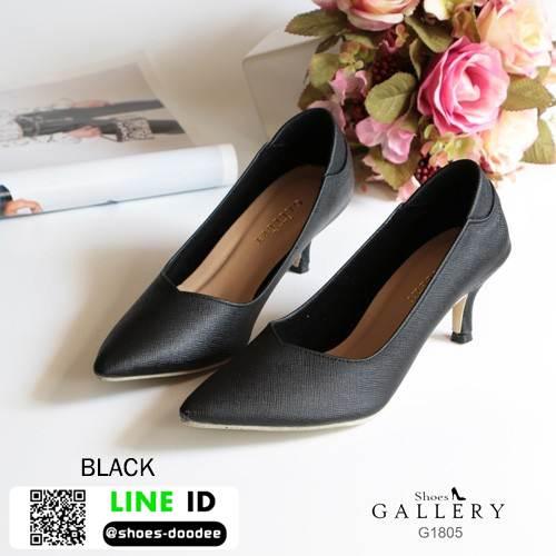 รองเท้าคัชชูหัวแหลมส้นสูง G18-05-BLK [สีดำ]