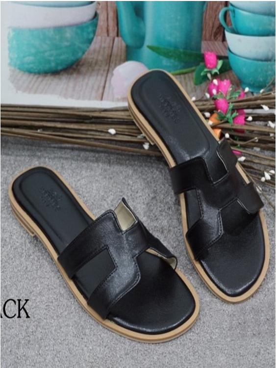 รองเท้าแตะ แบบสวม สไตล์H (สีดำ )