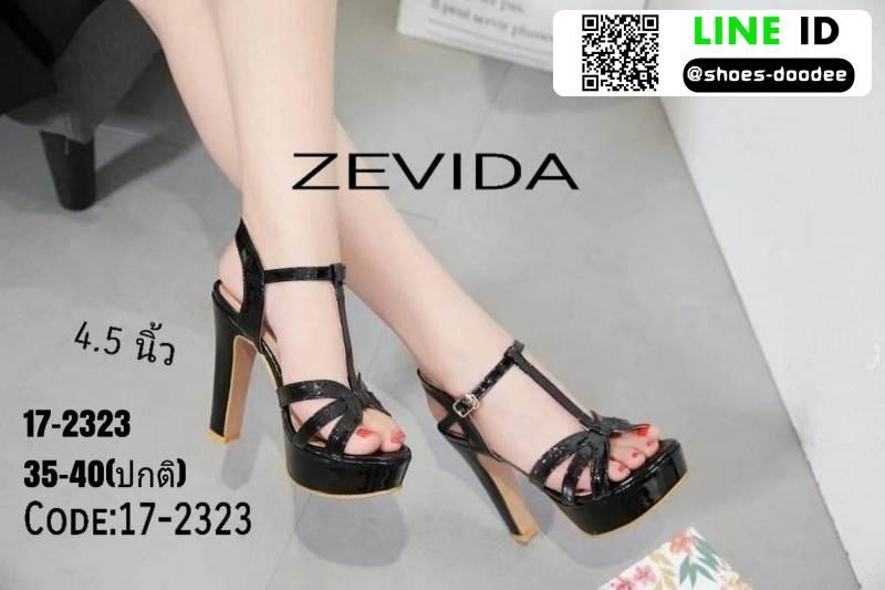 รองเท้าส้นแท่งรัดข้อเปิดส้น <SP>17-2323-BLK<SP>[สีดำ]