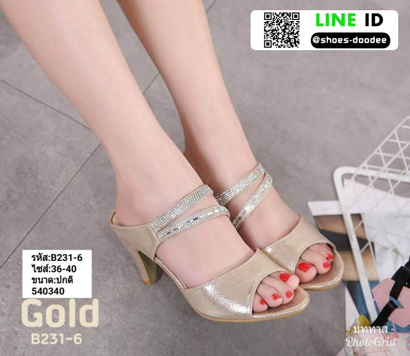 รองเท้าส้นสูงเปิดส้น B231-6-GLD [สีทอง]