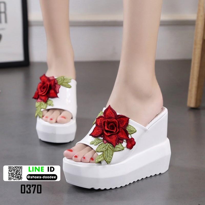 รองเท้าแตะลำลองมัฟฟิน ส้นเตารีด แต่งดอกกุหลาบ 0370-WHITE [สีขาว]