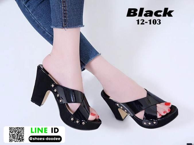 รองเท้าลำลองเปิดส้น หนังแก้วนิ่ม ส้นไม้ 12-103-BLK [สีดำ]