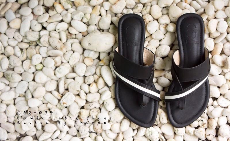 ลดล้างสต๊อก รองเท้าส้นเตี้ย C62039-BLK [สีดำ]