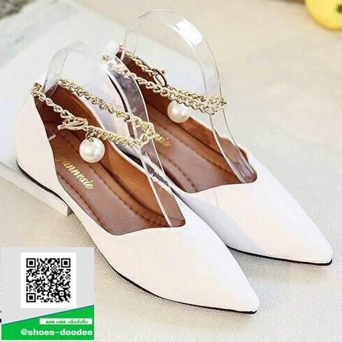 รองเท้าคัทชูหัวแหลมสีขาว พิมพ์ลายหนังงาช้าง (สีขาว )