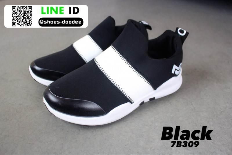 รองเท้าผ้าใบลายช้าง 7B309-BLK [สีดำ]