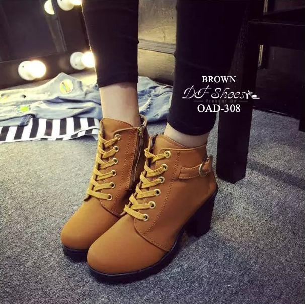 รองเท้าบูทเกาหลีสีน้ำตาล หนังพียู ส้นตัน (สีน้ำตาล )