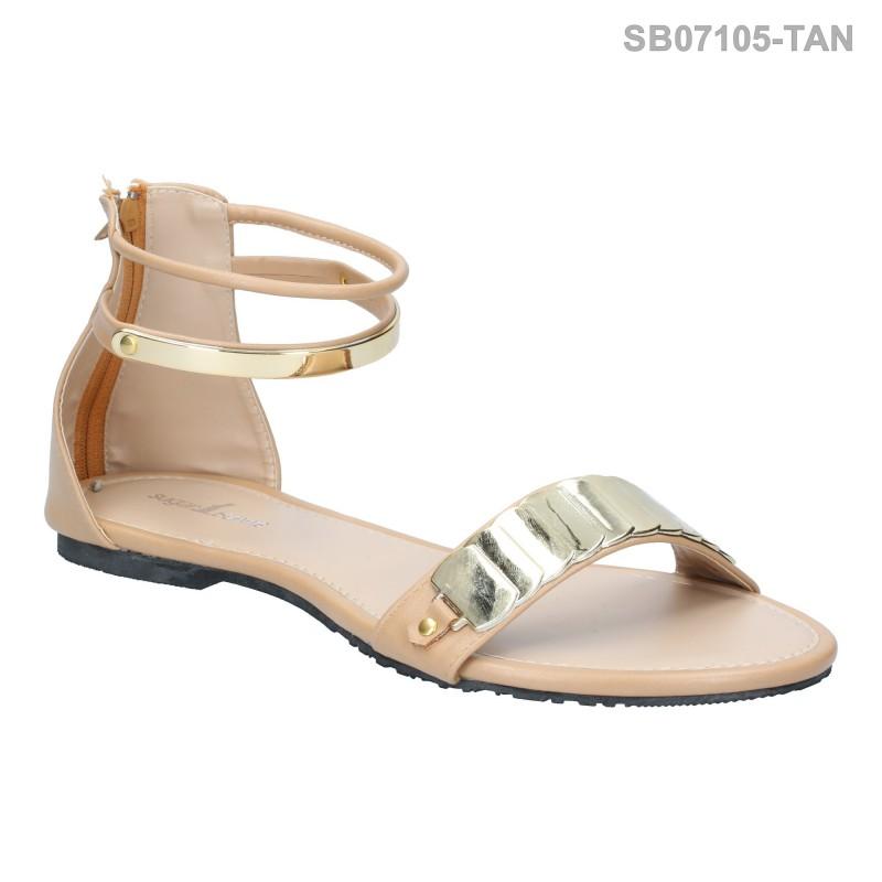 ลดล้างสต๊อก รองเท้าส้นแบน SB07105-TAN [สีแทน]