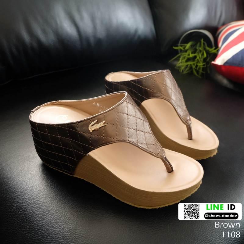 รองเท้าเตารีด เสริมส้นหูคีบ พื้นลายตาราง โลโก้ลาคอส 1108-น้ำตาล [สีน้ำตาล ]
