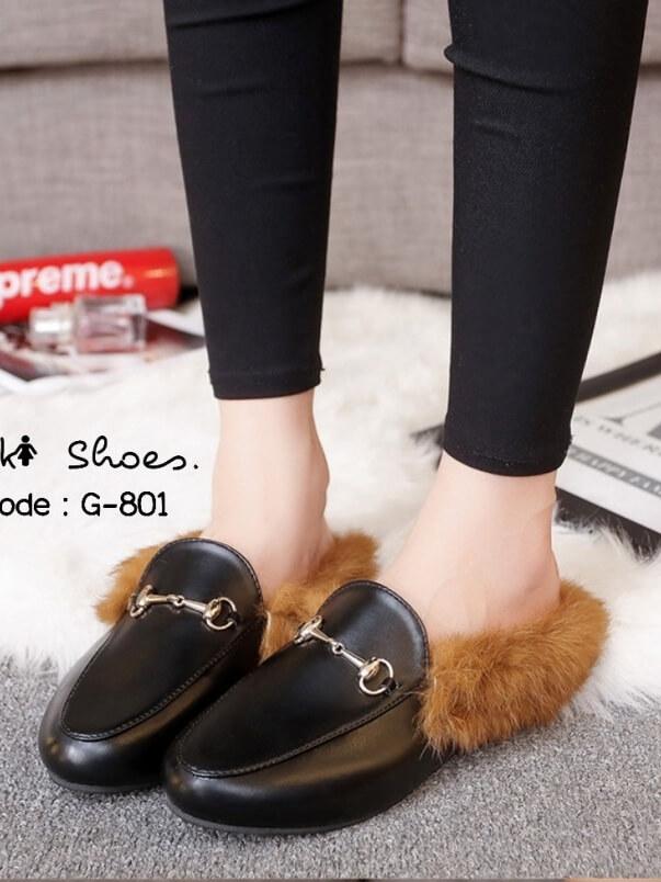 รองเท้าแตะส้นแบน แบบสวม เปิดส้น แต่งขนเฟอร์ (สีดำ )